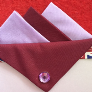 Lilac and Burgundy Hankie With Burgundy Flap and Pin